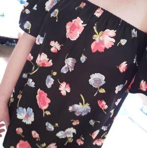 Black off the shoulder floral top